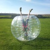 zorb ball     Zorbing involves rolling downhill inside an orb, generally made of transparent plastic. There are obvious safety issues which the adventure guide needs to manage.